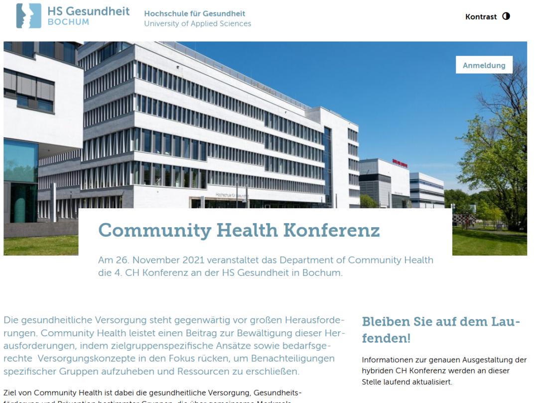 Screenshot Community Health Konferenz